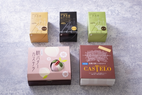 長崎伝来菓子桃バターカステラとキャステロ卵クリームサンドハーフ、デリーフデ3個のセット