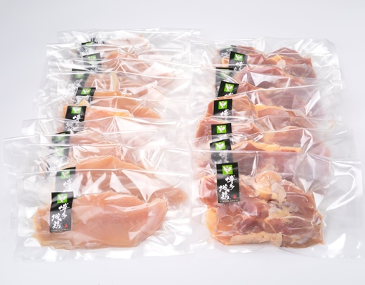 (福岡県産)はかた地どりモモ肉、むね肉4kgセット