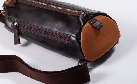 豊岡鞄 帆布×皮革ワンショルダー(24-132)チョコ