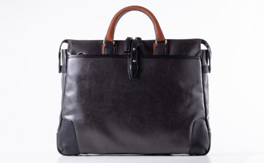 豊岡鞄 帆布PU×皮革ソフトブリーフ(24-110) ブラック