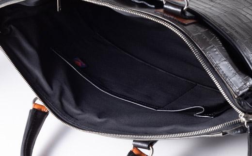 豊岡鞄クロコ型皮革ブリーフ(チャコール)24-141