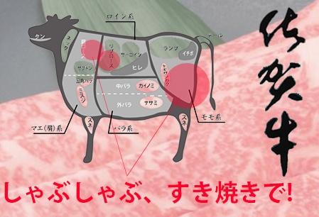 最高級ブランド銘柄!佐賀牛しゃぶしゃぶすき焼き用+ロース付き
