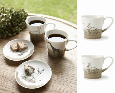 【miyama.】(ウサギ×ウサギ)食卓が動物園に!可愛い美濃焼のマグカップ