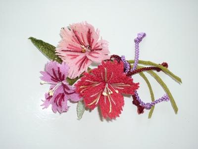 特許取得の土佐和紙使用の造花の髪飾りとコサージュの両用