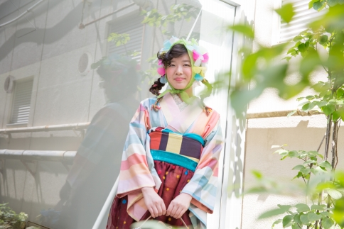 (Lサイズ)【一点物】世界が認める着物デザイナー重宗玉緒×伝統工芸「多摩織」 正絹カツオ縞紬着物(お仕立て上がり)