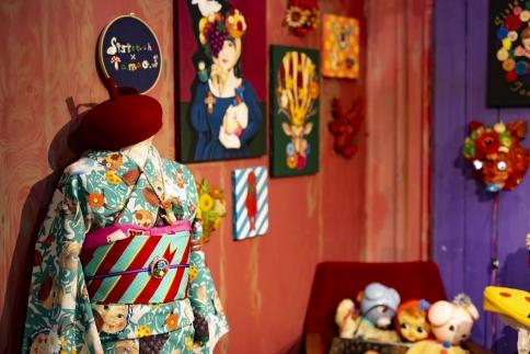 (Lサイズ)新進気鋭の着物デザイナー・重宗玉緒プレタ着物「幾何学格子小紋(アイボリー)」