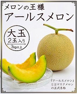 <限定>高級フルーツの代名詞アールスメロン2玉(3キロ以上)