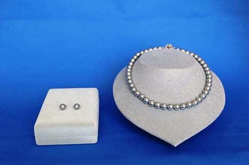 貝パール9㎜ネックレス・9㎜ピアス2点セット(ガンメタル)簡易箱