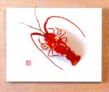 【加賀水引】威勢エビ(伊勢海老) ホワイトパネル 壁掛け床置き兼用