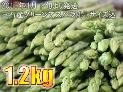 ★2020年4月下旬より順次発送★絶品!!三石産グリーンアスパラM/Lサイズ混み1.2kg