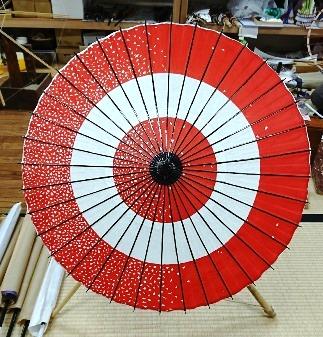 【限定2本!】美馬和傘「日傘(助六ふぶき(赤))」色鮮やかに染めた和紙を使用