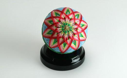 【加賀手まり】(水色)花てまり・小[黒塗台]