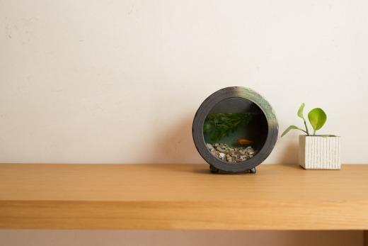 丸水槽・中(すす竹茶)aqua-01s