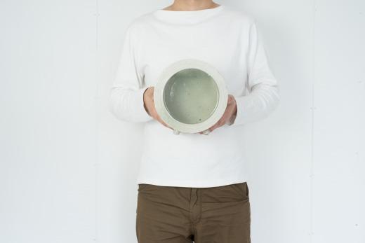 丸水槽・中(白釉)aqua-01w