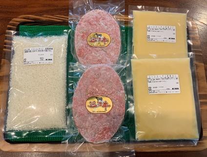 【ギフト用】近江牛「夫婦で手作り冷凍のまま焼くハンバーグセット」手作りコーンスープ&近江米(自家収穫米)付