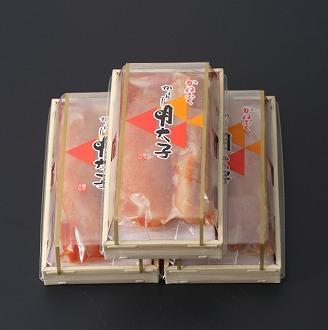 かねふく〈無着色〉辛子明太子190g×3(一本物)