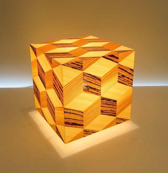 アクリキューブ行灯 銘木ツキ板 寄木模様C LED電球