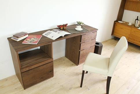 システムデスク(プリンター台・引き出しタイプ)幅1800mm無垢材を使用した机パソコンデスク書斎机