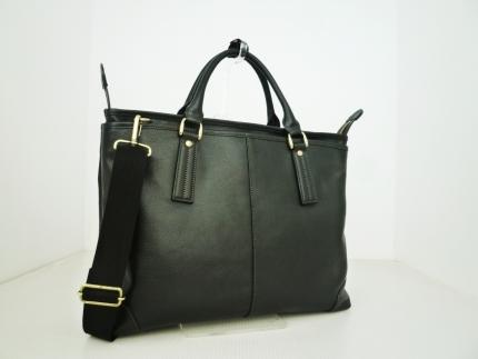 豊岡鞄 皮革横型手提げ(ブラック)