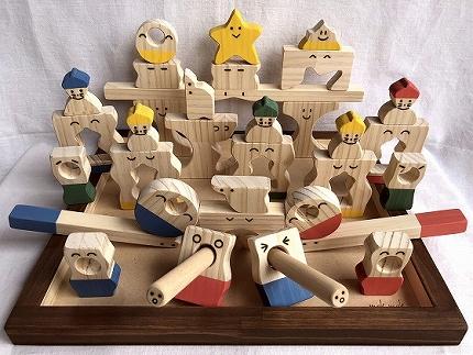 【ギフト用】木のおもちゃ「コロポコ積木パズル(スペシャル)&歯がため&スプーン&昇りワンニャン&コッコちゃんS&三連カスタくん&脳活ディスクパズル(6枚)&スライドパズル&たまごキャッチくん」9点セット
