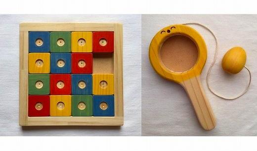 【ギフト用】木のおもちゃ「コロポコ積木パズル(スペシャル)&昇りワンニャン&三連カスタくん&脳活ディスクパズル(6枚)&スライドパズル&たまごキャッチくん」6点セット