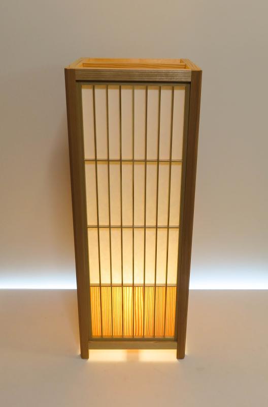 組子行灯「極」 LLサイズ 楮和紙無地/国産杉突板(腰板)デザイン