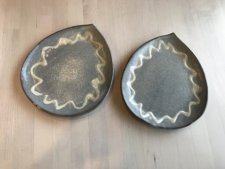 【陶器】しずく型大皿 灰水色 いっちん