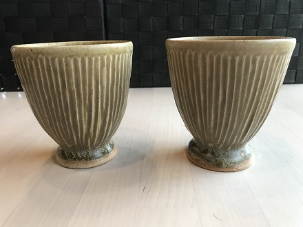 【陶器】櫛目フリーカップ 黄