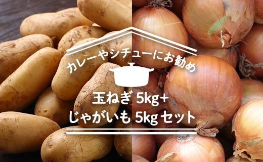 【2019年秋発送】「カレーやシチューにお勧め」玉ねぎ5kg+じゃがいも5kgセット