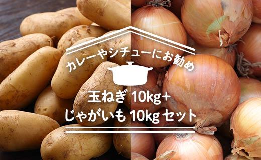 【2019年秋発送】「カレーやシチューにお勧め」玉ねぎ10kg+じゃがいも10kgセット