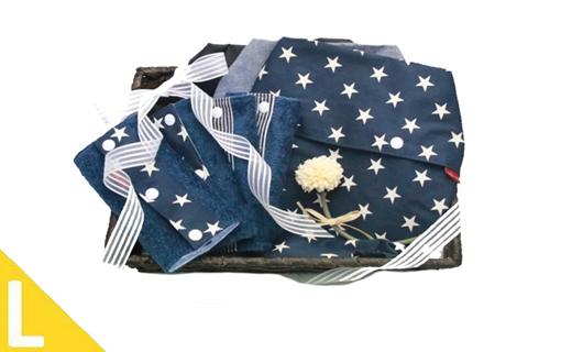 出産祝にも!かごとお花とリボンのラッピング付抱っこひも収納カバー「ルカコ」Lサイズ3枚とよだれカバーのセット(撥水加工ブラック付)