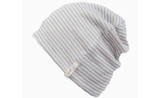 【ピンク】室内用帽子オーガニックコットンボーダーシャロット