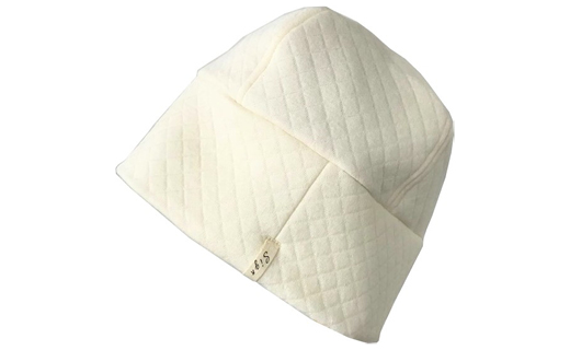 【ナチュラル】就寝用帽子オーガニックコットン中綿以外 キルトワッチ
