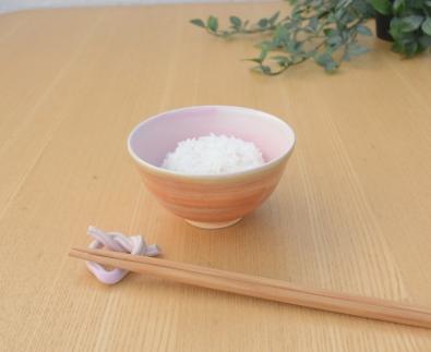 笠取焼き4点セット桃色茶碗(ピンクペア)・箸置き