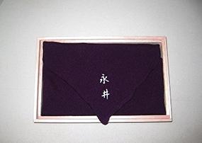 加賀染・正絹ちりめん名入ふろしき(紫)