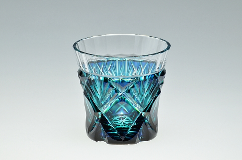 【20年発送】島津薩摩切子 二色冷酒杯C-251ルリ緑
