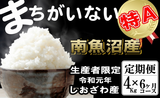 【定期便】生産者限定契約栽培 南魚沼しおざわ産コシヒカリ(4Kg×6ヶ月)