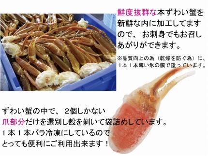 お刺身も出来る!生冷凍ズワイガニ爪1約kg【北海道産・ロシア産】