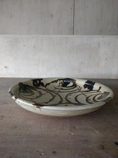 土鍋用の土で作った火にかけられる信楽焼の平土鍋、お皿