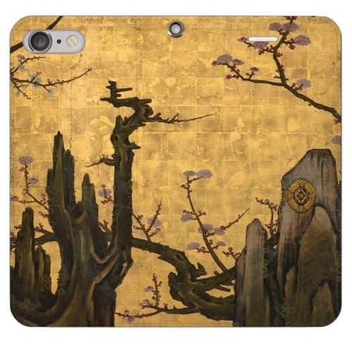 iPhoneケース 手帳型(帯なし) 「狩野山雪 老梅図屏風」