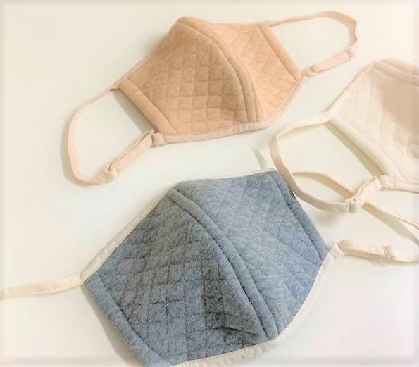 マスク オーガニックコットン中綿以外使用キルト立体マスク各1色3個セット