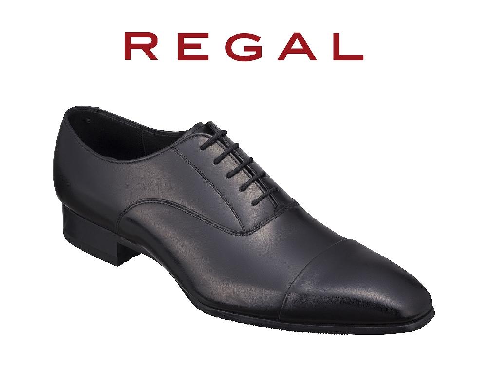 REGAL紳士ビジネスシューズストレートチップブラック<奥州市産モデル>25.5cm