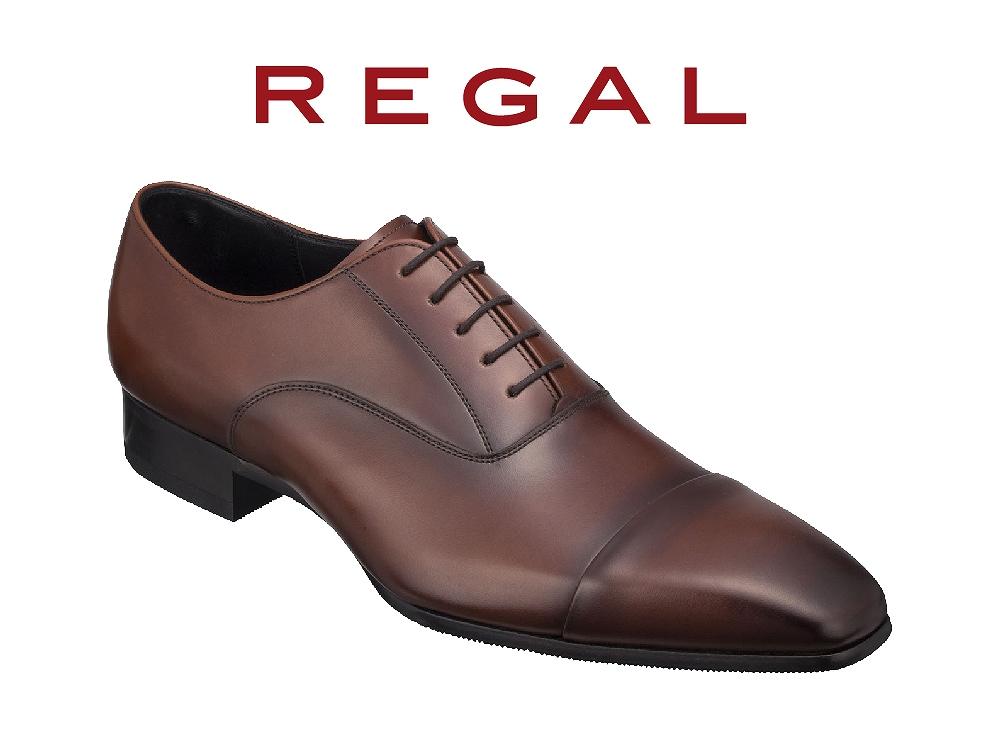 REGAL紳士ビジネスシューズストレートチップブラウン<奥州市産モデル>24.5cm