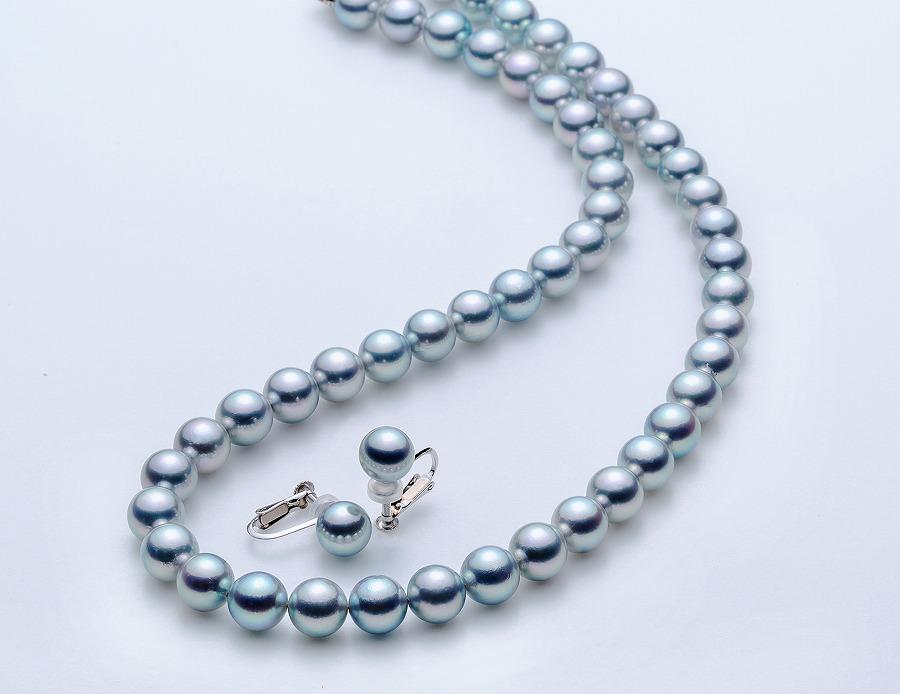 アコヤ本真珠8.0-8.5mmグレーネックレスとイヤリングセット【★★★★☆】