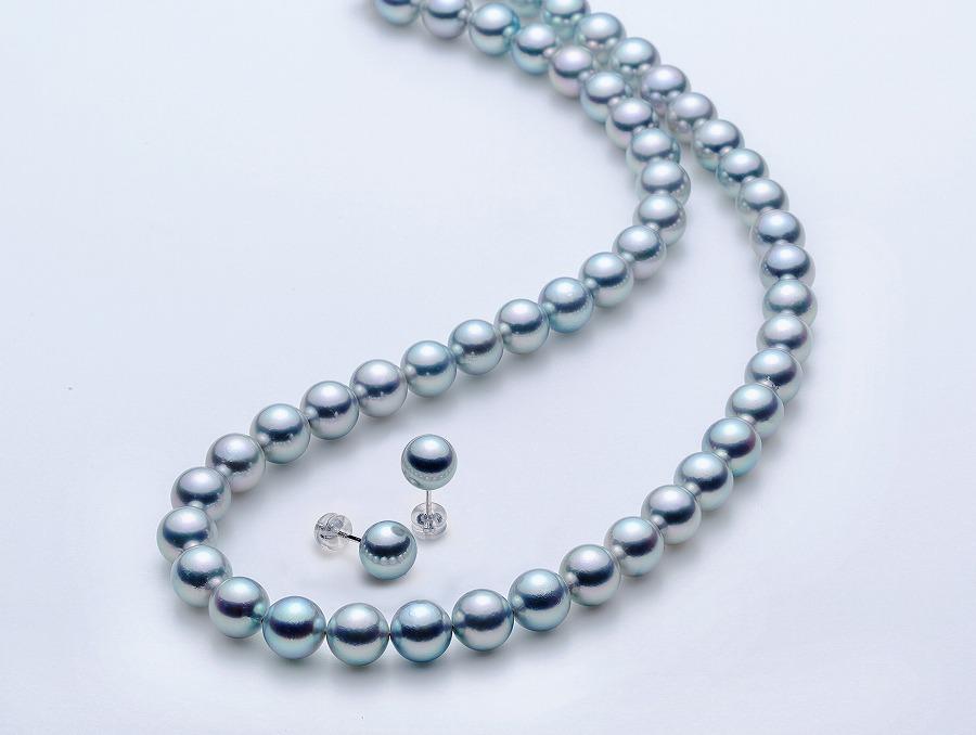 アコヤ本真珠7.5-8.0mmグレーネックレスとピアスセット【★★★☆☆】