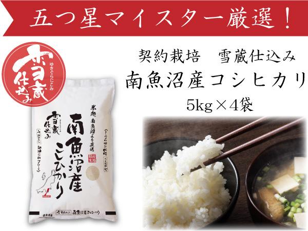 契約栽培雪蔵貯蔵米南魚沼産こしひかり20kg(5kg×4)