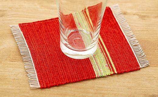 手織りの絹コースター
