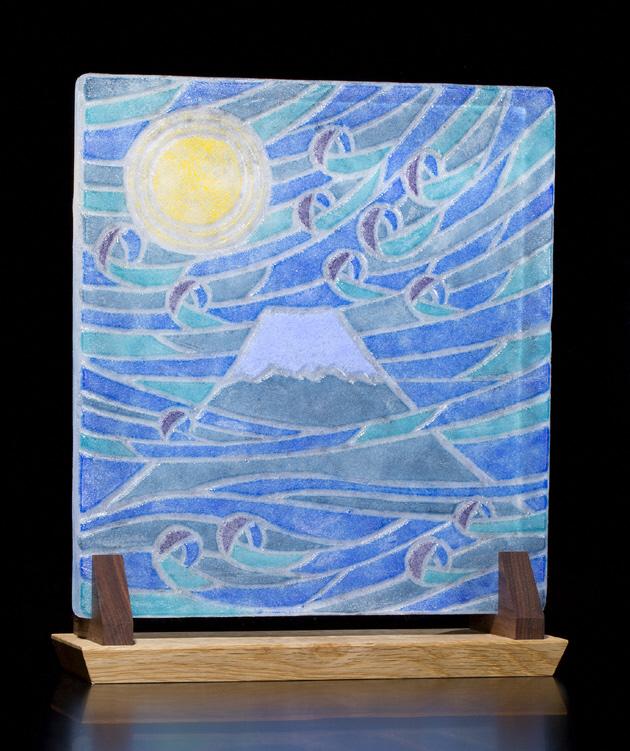 オーナメントガラスのレリーフ「月光の富士」