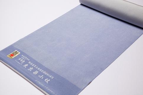 (淡藤色)【江戸小紋石塚染工】伝統工芸士による江戸小紋反物フランス縞