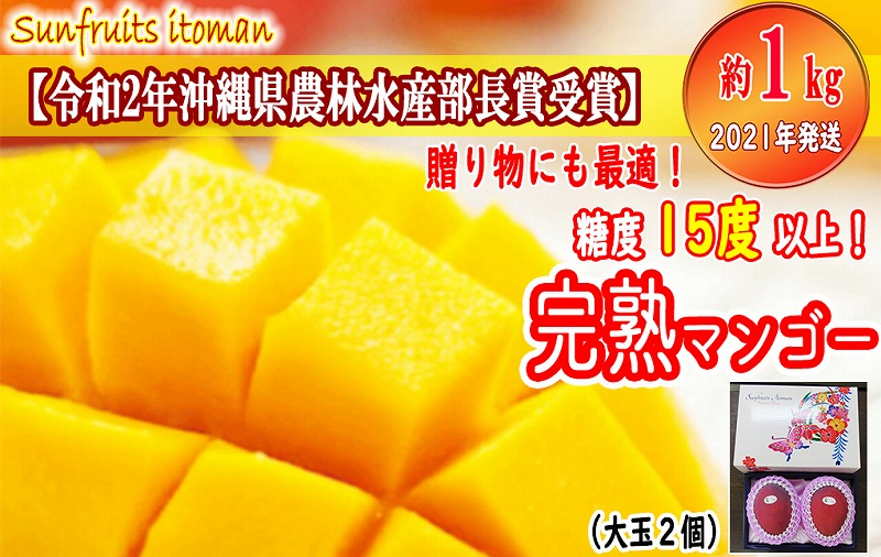 【2021年発送】糖度15度以上!! サンフルーツ糸満のマンゴー1kg